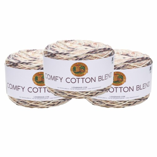 Lion Brand Yarn 756-712 Comfy Cotton Yarn Cakes - Chai Latte Perspective: front