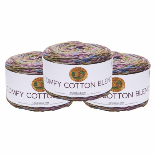 Lion Brand Yarn 756-704 Comfy Cotton Yarn Cakes - Stained Glass Perspective: front