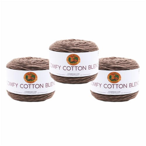 Lion Brand Yarn 756-125 Comfy Cotton Yarn Cakes - Mochaccino Perspective: front