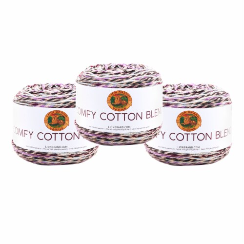 Lion Brand Yarn 756-719 Comfy Cotton Yarn Cakes - Blueberry Muffin Perspective: front