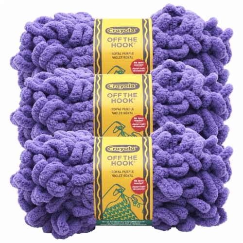Lion Brand Crayola Off the Hook Yarn - Royal Purple Perspective: front