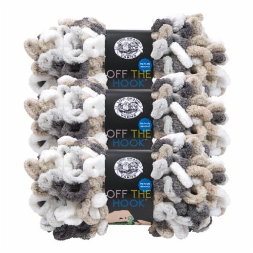 Lion Brand Off the Hook Yarn - Snowy Cosmo Perspective: front