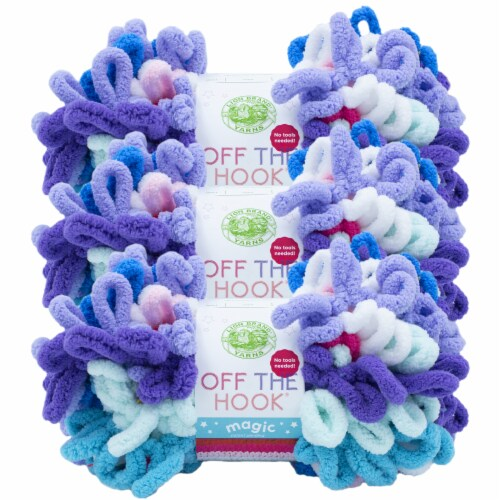 Lion Brand Off the Hook Magic Rainbow Stripe Yarn Perspective: front