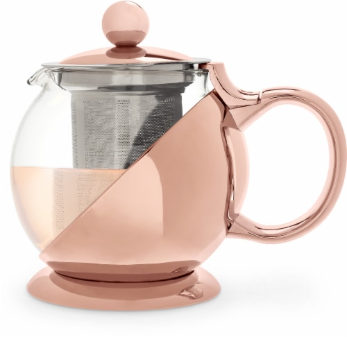 Pinky Up Shelby Wrapped Teapot and Infuser - Rose Gold Perspective: front