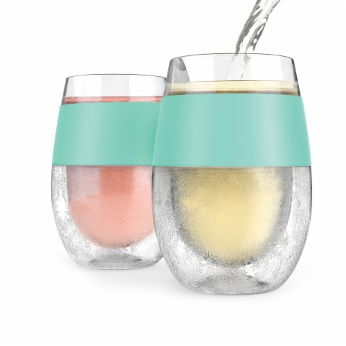True Fabrications Host Freeze Cooling Wine Cup - Mint Perspective: front