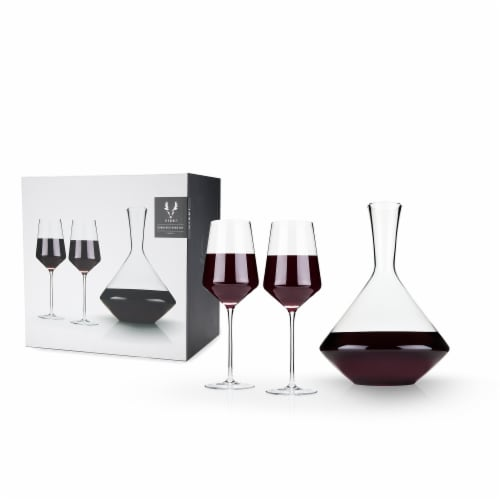 3-Piece Angled Crystal Bordeaux Set by Viski® Perspective: front