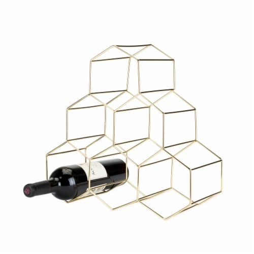 Gold Geo Counter Top Wine Rack by Viski® Perspective: front