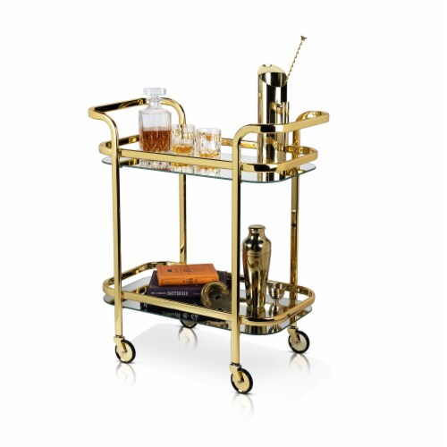 Viski 5891 Belmont Gold Bar Cart Perspective: front