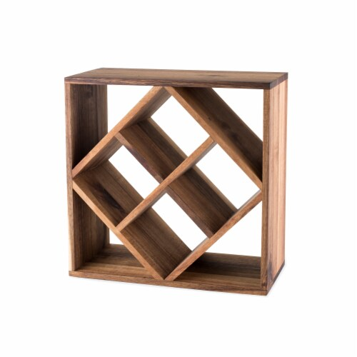 Acacia Wood Lattice Wine Rack by Twine® Perspective: front