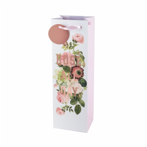 True Fabrications Rose All Day Single Bottle Wine Bag Perspective: front