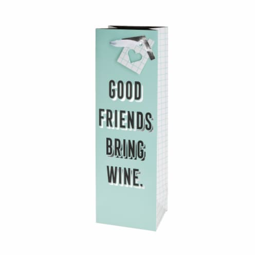 True Fabrications Good Friends Bring Wine Single-Bottle Wine Bag Perspective: front