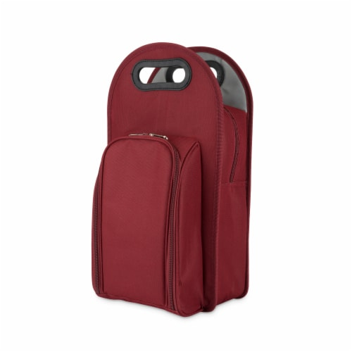 Metro™: 2-Bottle Tote in Burgundy & Grey Perspective: front