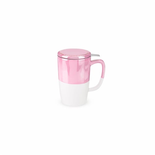 Pinky Up 7840 18 oz Delia Tea Mug & Infuser, Pink Perspective: front