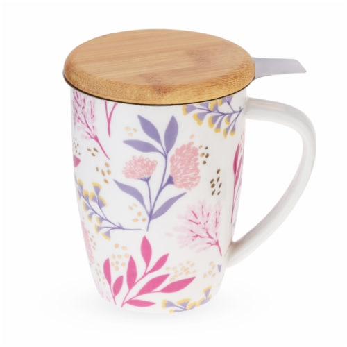 Pinky Up 8182 12 oz Bailey Botanical Bliss Ceramic Tea Mug & Infuser, Multicolor Perspective: front