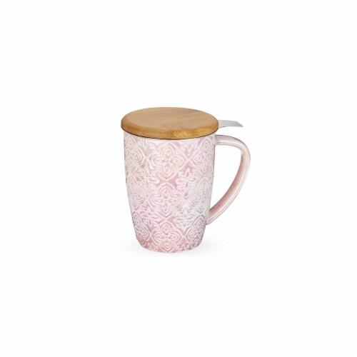 Pinky Up 8183 12 oz Bailey Marrakesh Ceramic Tea Mug & Infuser, Pink Perspective: front