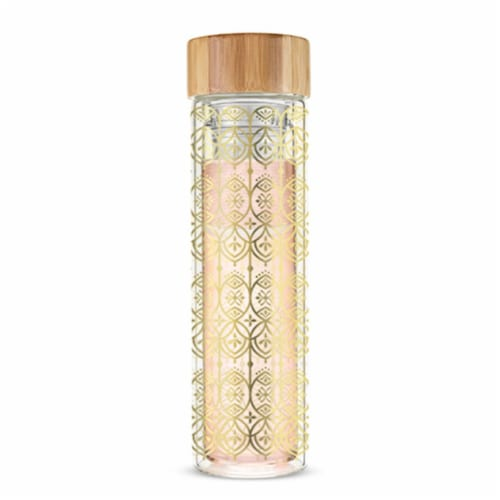 Pinky Up 16 oz Blair Arabesque Gold Glass Travel Infuser Mug, Multicolor Perspective: front