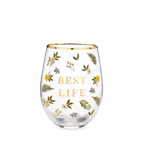 Best Life Stemless Wine Glass by Twine® Perspective: front