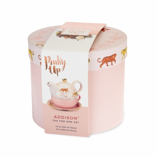 Pinky Up Addison Bangladesh Tea for One Teapot & Cup Set - Pink Perspective: front