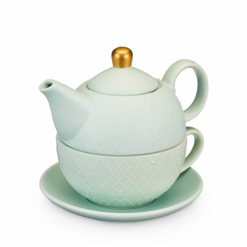 True Fabrications Addison Souk Tea for One Teapot and Cup Set - Mint Perspective: front