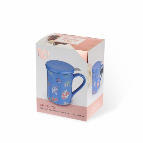True Fabrications Pinky Up Annette Floral Ceramic Tea Mug & Infuser - Blue Perspective: front