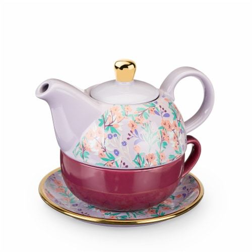 True Fabrications Addison Wildflower Tea for One Teapot and Cup Set - Purple Perspective: front