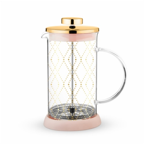 True Fabrications Glass Tea Press Pot - Riley Mini Souk Gold Perspective: front