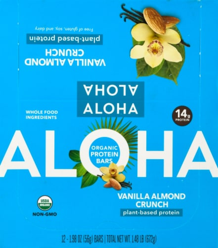 Aloha Organic Vanilla Almond Crunch Protein Bars Perspective: front