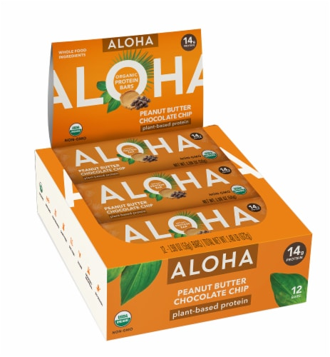 Aloha  Organic Protein Bar  Peanut Butter Chocolate Chip - 12 Count Perspective: front