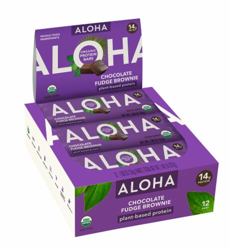 Aloha  Organic Protein Bar Chocolate Fudge Brownie - 12 Count Perspective: front