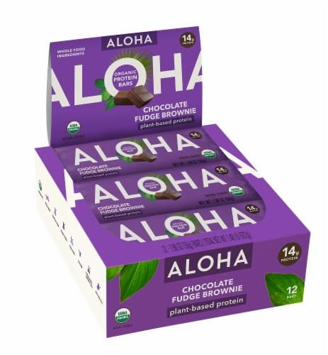 Aloha Organic Chocolate Fudge Brownie Protein Bars Perspective: front