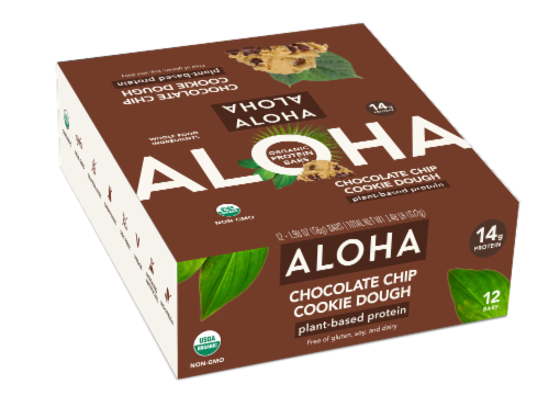 Aloha Organic Chocolate Chip Cookie Dough Plant-Based Protein Bar 12 Count Perspective: front