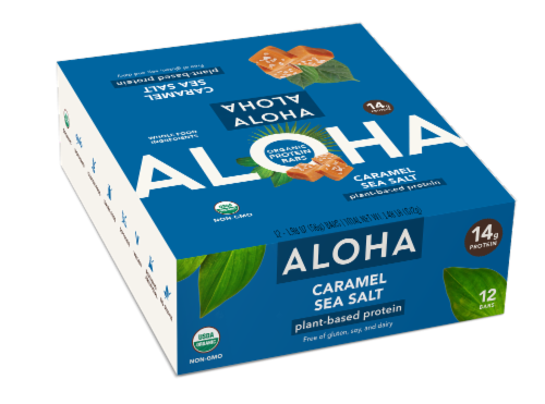 Aloha Organic Caramel Sea Salt Plant-Based Protein Bars 12 Count Perspective: front
