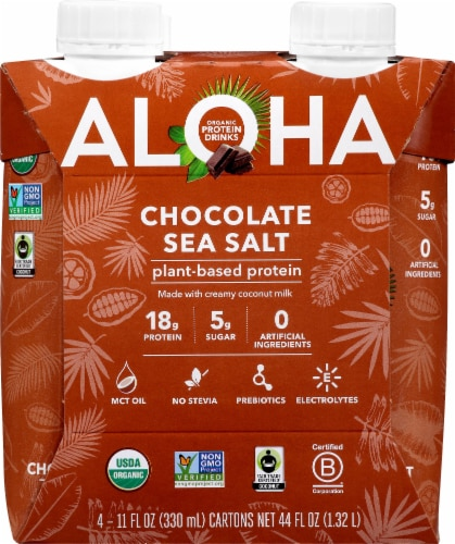 Aloha Organic Chocolate Sea Salt Plant-Based Protein Drinks Perspective: front