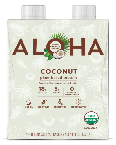 Aloha Organic Coconut Plant-Based Protein Drinks Perspective: front
