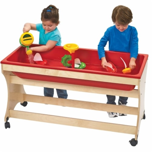 Angeles ANG9029 Value Line Birch Sand & Water Table - UV Finish, 35 x 12 x 48 in. Perspective: front