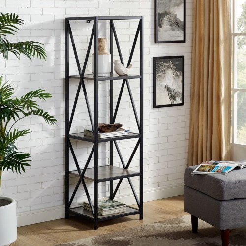 Metal X Media Tower Bookcase with Wood Shelves - Gray Wash Perspective: front
