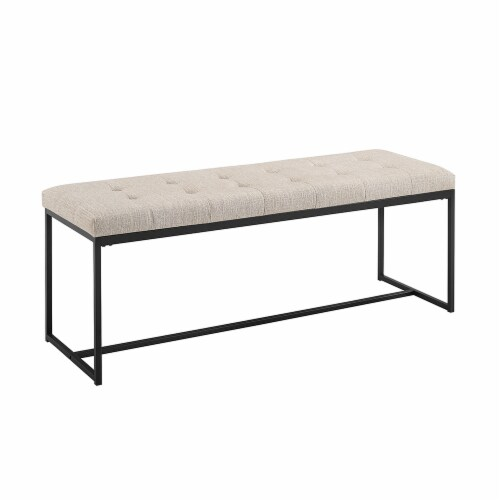 48  Tufted Upholstered Bench with Metal Base - Tan Perspective: front