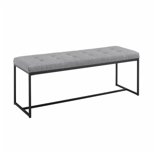 48  Tufted Upholstered Bench with Metal Base - Grey Perspective: front