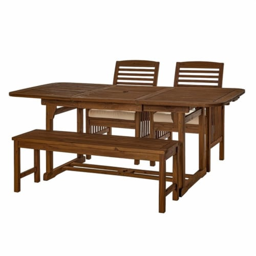 4 Piece Wood Patio Dining Table Set - Dark Brown Perspective: front