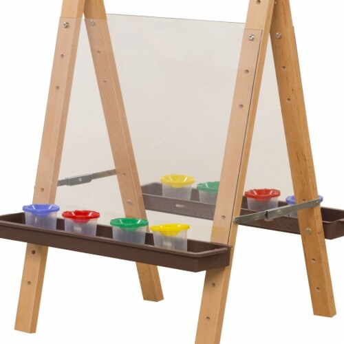Wood Designs 17523BN Tot Size Double Acrylic Easel with Brown Trays Perspective: front
