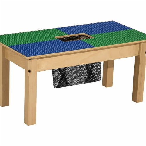 Lego Compatible Table With Legs Blue, Wood Lego Table With Chairs