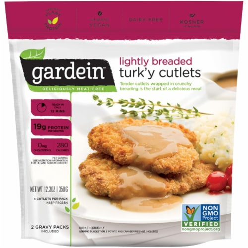 Gardein Lightly Breaded Meat-Free Turk'y Cutlet with Homestyle Gravy Perspective: front