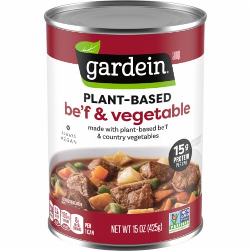 Gardein Plant-Based Be'f and Country Vegetable Vegan Soup Perspective: front