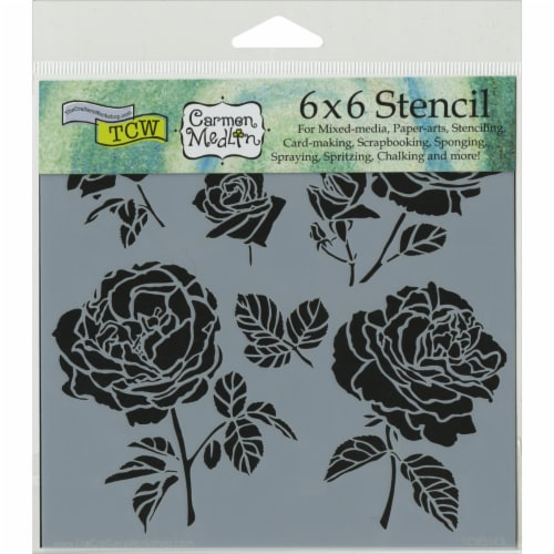 Crafter's Workshop Template 6 X6 -Cabbage Roses Perspective: front