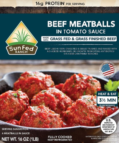 Sunfed Ranch Beef Meatballs in Tomato Sauce Perspective: front