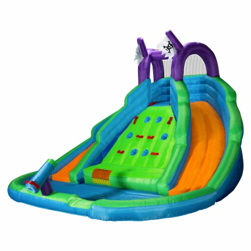 Bounce House w/ Climbing Wall, Water Slide, Pool, and Blower - Cloud 9 Perspective: front