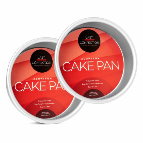 2pc Round Cake Pan Set, 6  x 2  Deep Aluminum Pans - Last Confection Perspective: front