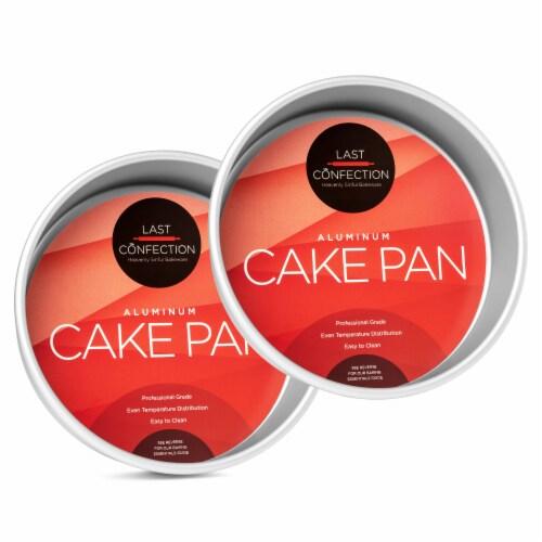 2pc Round Cake Pan Set, 8  x 2  Deep Aluminum Pans - Last Confection Perspective: front