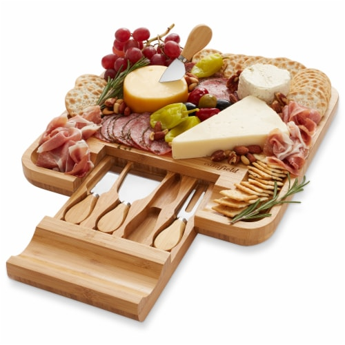 Bamboo Cheese Board & Knife Gift Set, Charcuterie Serving Tray Perspective: front