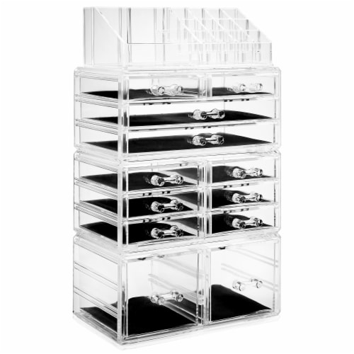 Acrylic Makeup Cosmetic Organizer & Jewelry Storage Set - Large Perspective: front